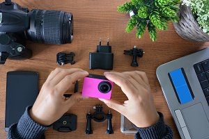 Camera´s action with accessories