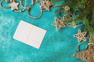Christmas decor with greeting card