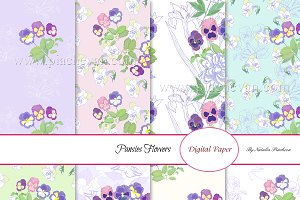 Digital paper with Pansies Flowers