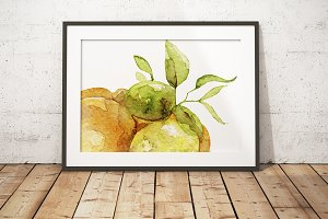 Watercolor citrus art poster