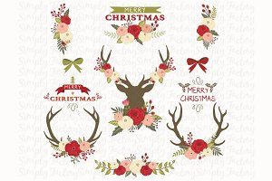 Vintage Christmas Floral Elements