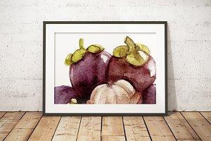 Watercolor mangosteen art poster