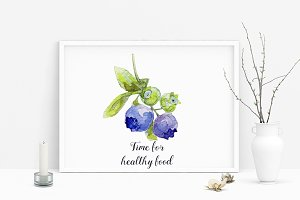 Watercolor blueberry art poster