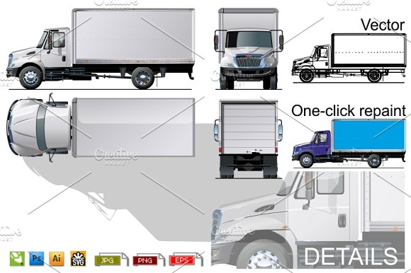 Download Delivery/cargo truck mockup