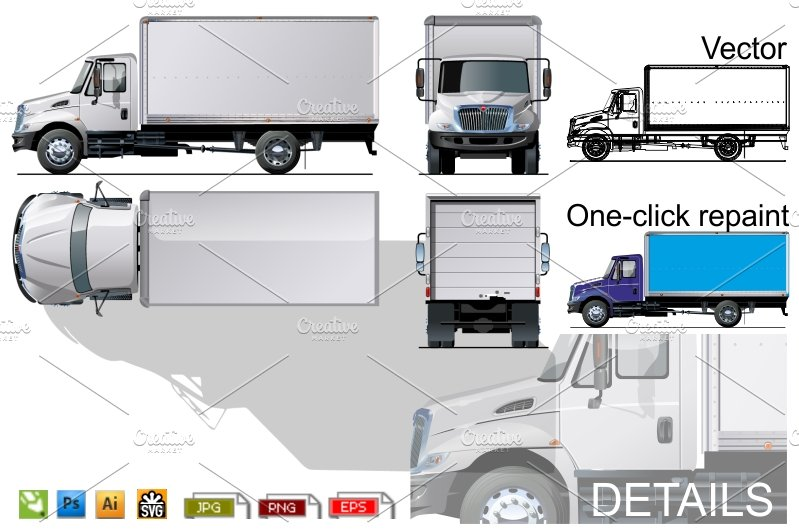 delivery cargo truck mockup product mockups creative market. Black Bedroom Furniture Sets. Home Design Ideas