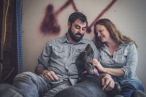 A Couple and Their Dog