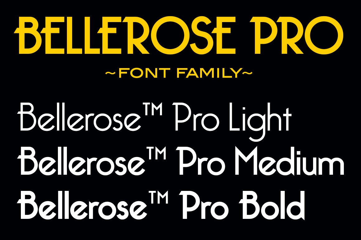 Bellerose Pro Font Family Sans Serif Fonts Creative Market