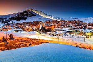 Magical sunset and winter ski resort