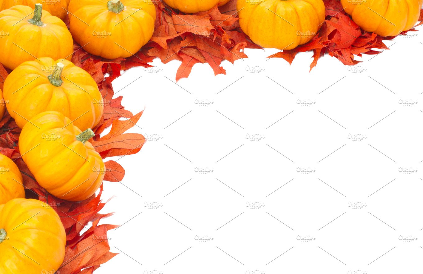 Fall pumpkin border ~ Holiday Photos ~ Creative Market