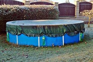 Garden pool in the winter