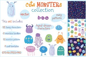 Cute MONSTERs vector collection.