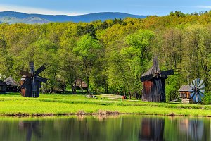 Traditional old wooden windmills