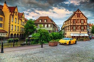 Medieval street with car,Colmar