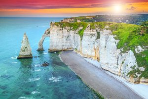Spectacular sunset and beach,Etretat