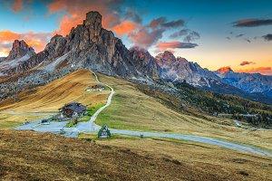 Alpine pass and high peaks,Dolomites