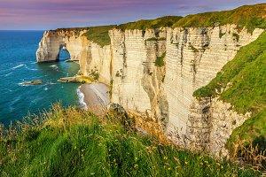 Natural rock arch wonder,Etretat