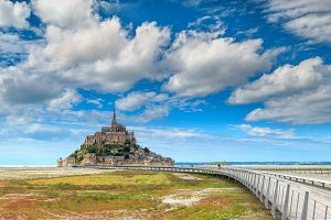 Mont Saint Michel island with bridge