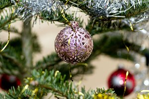 Pink and blue Christmas ornament