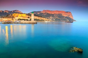 Cassis lighthouse and sunset
