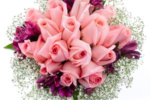 Pink roses bouquet from above