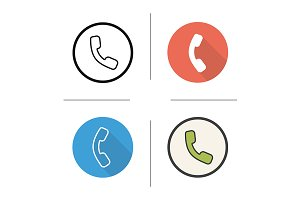 Phone handset. 4 icons. Vector