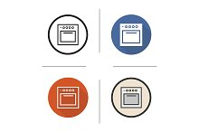 Stove. 4 icons. Vector