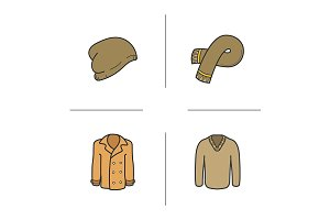 Winter clothes. 4 icons. Vector