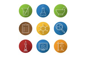 Chemical laboratory. 9 icons. Vector