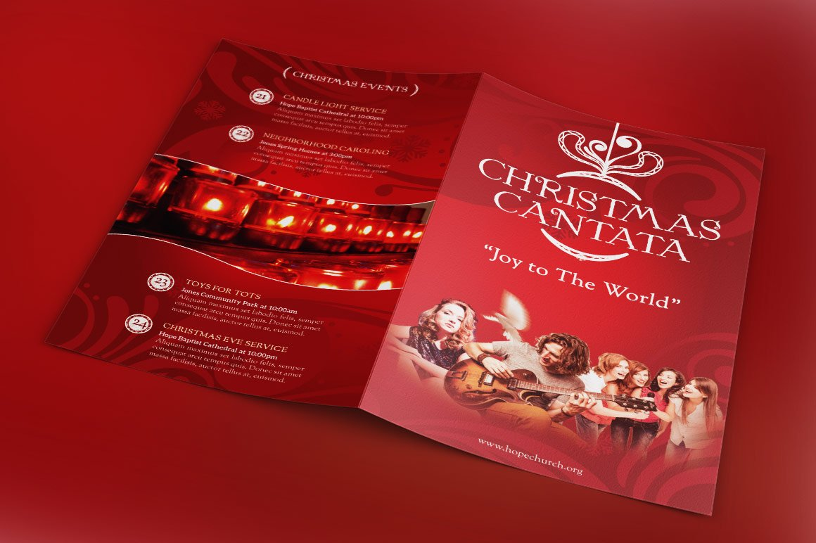 christmas cantata program template brochure templates creative market. Black Bedroom Furniture Sets. Home Design Ideas