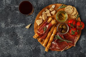 Cheese and meat appetizer selection