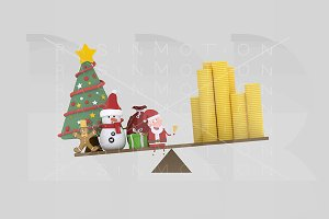 3d illustration. Christmas balance.