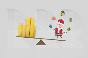 3d illustration. Santa balance.