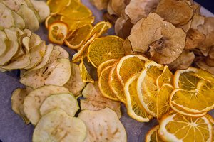 dried oranges, fruits, apples