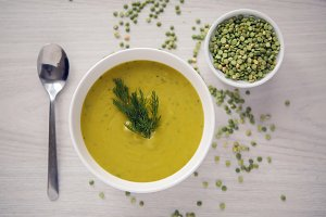 pea soup on a wooden table