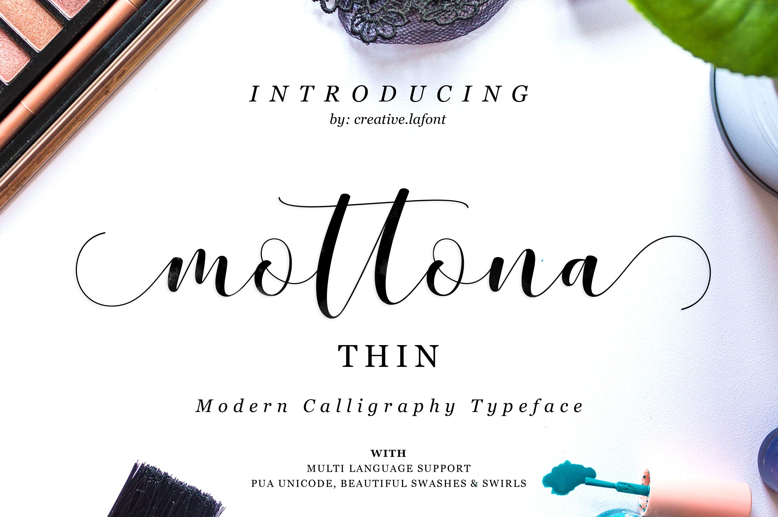 Mottona Thin Script Fonts Creative Market