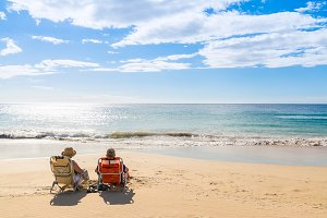 Couple relaxing in the beach
