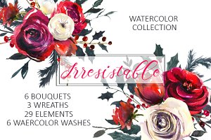Red Roses Watercolor Clipart Set