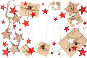 Wrapped gifts red stars decoration