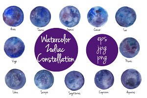 Watercolor zodiac constellation