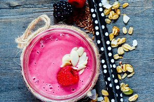 Fruit smoothie or milkshake
