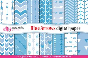 Blue Arrows Digital Paper