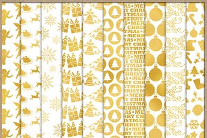 Christmas Gold Patterned Papers 1