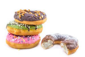 various glazed donuts isolate