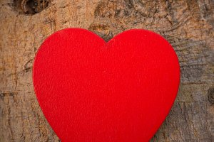 Heart of love on wooden.