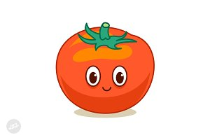 Cute Tomato Mascot Cartoon