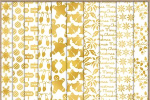 Christmas Gold Patterned Papers 2