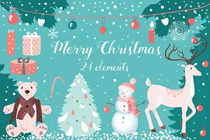 Christmas clipart (24 winter items)