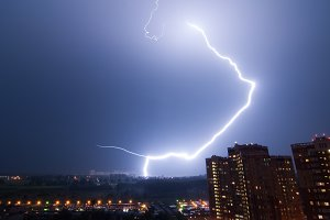 Amazing lightning strike over city.
