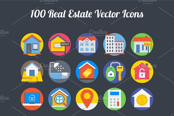 100 Real Estate Vector Icons