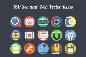 150 Seo and Web Vector Icons